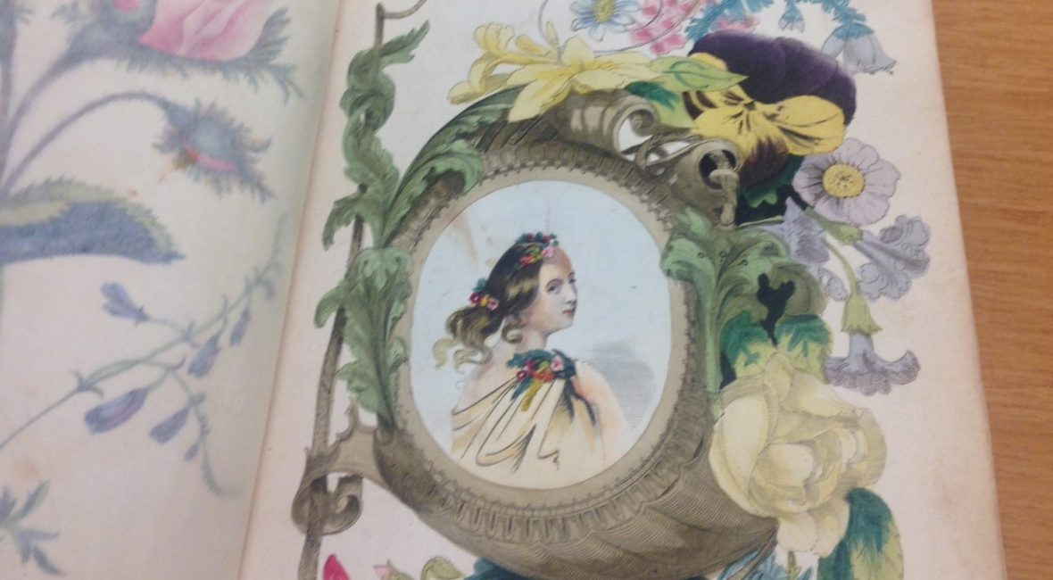 Elaborate book title page with illustration of a young girl surrounded by flowers