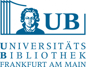 drawing and text in blue of logo for Universitätsbibliothek Johann Christian Senckenberg