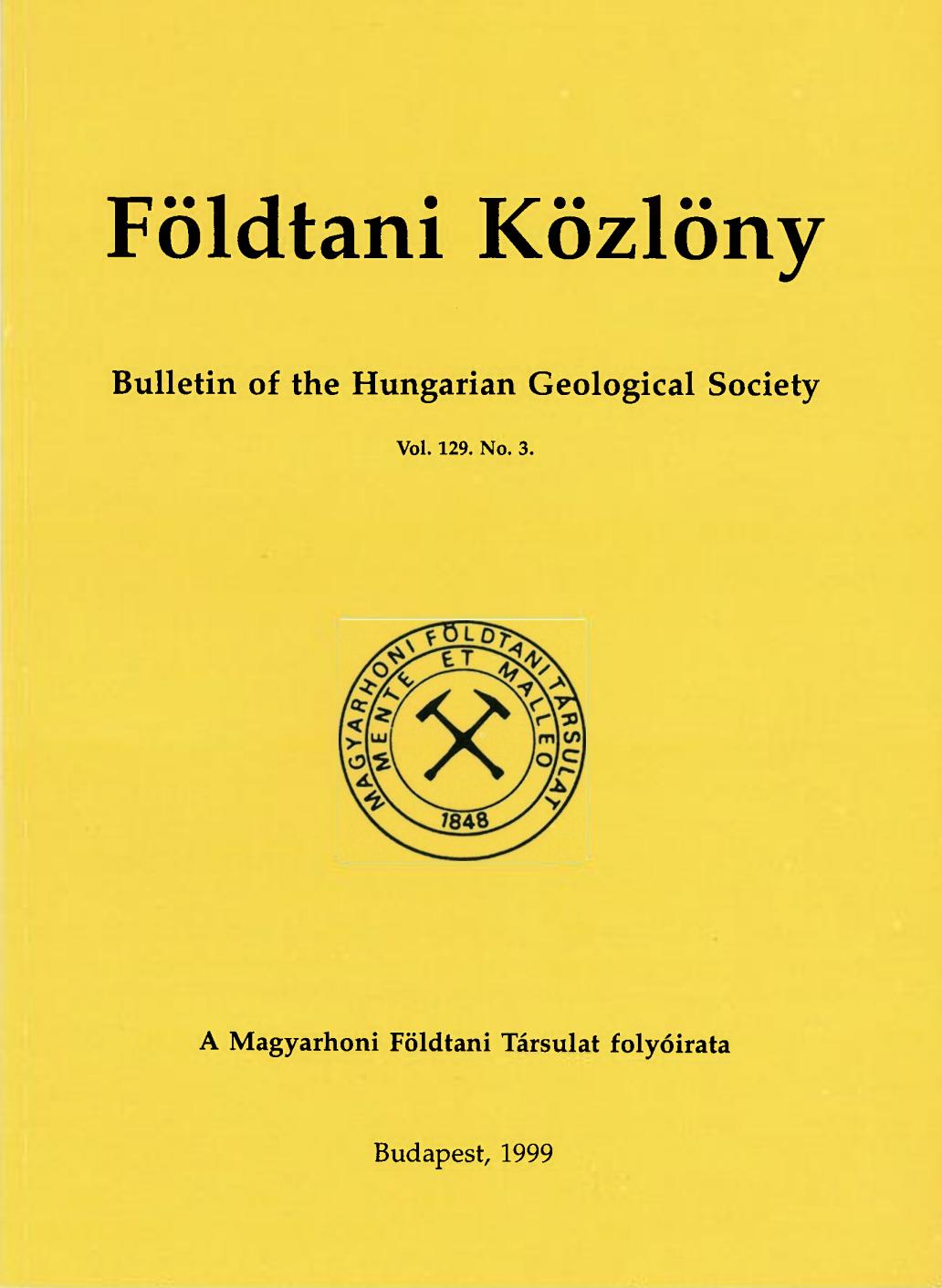 Földtani Közlöny cover