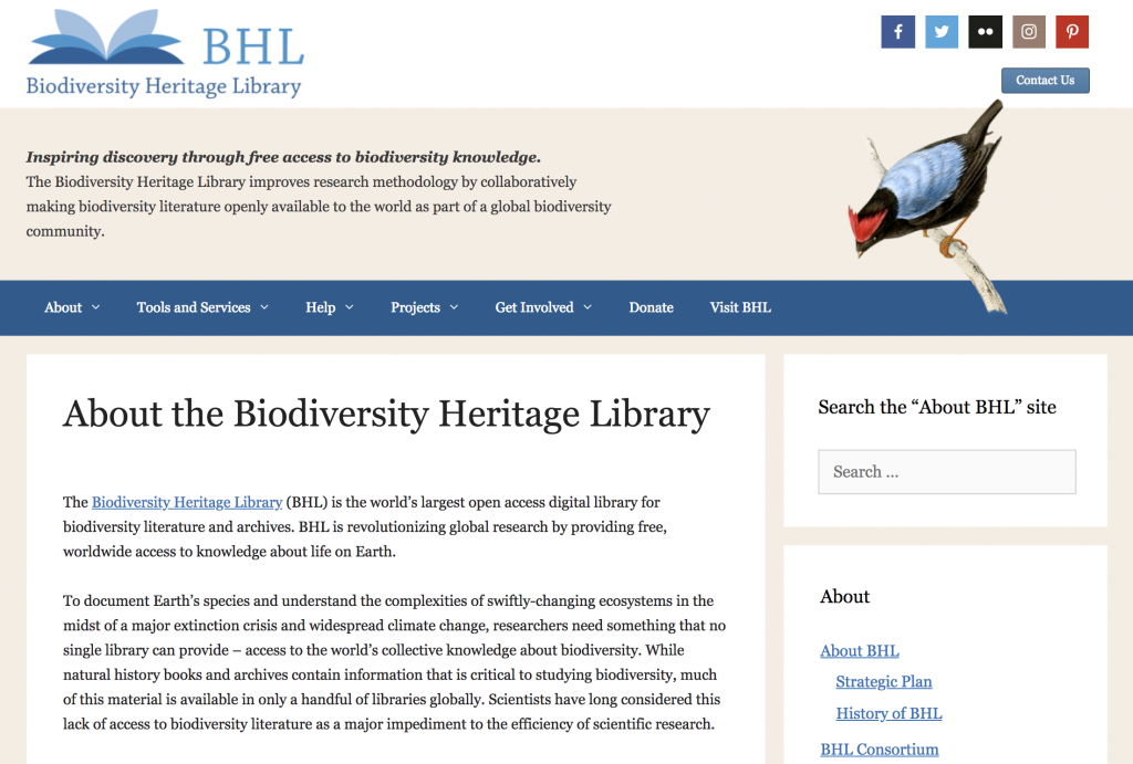 About BHL homepage