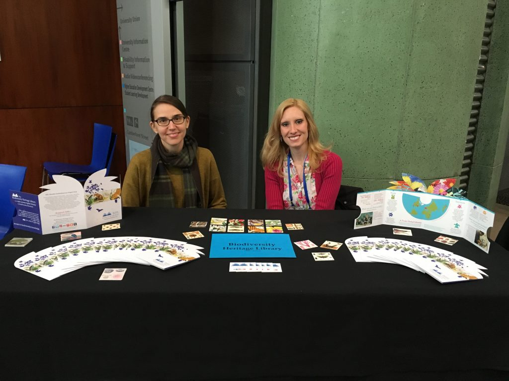 Carolyn Sheffield (left) and Grace Costantino (right) at the BHL table.