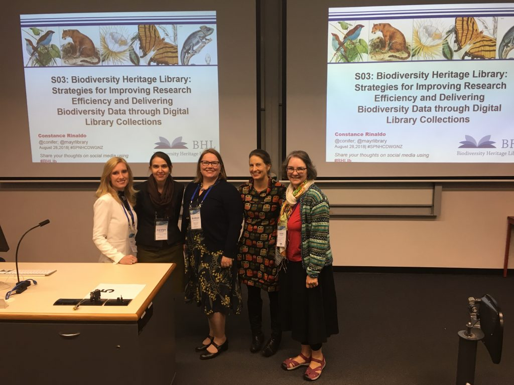 BHL representatives preparing to deliver talks as part of the BHL Symposium. Left to right: Grace Costantino, Carolyn Sheffield, Siobhan Leachman, Nicole Kearney, Constance Rinaldo.