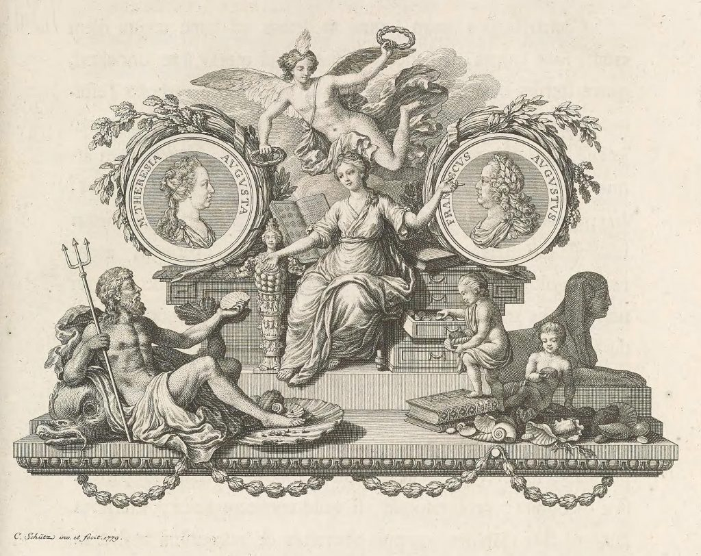 Illustration of woman on throne being handed a shell