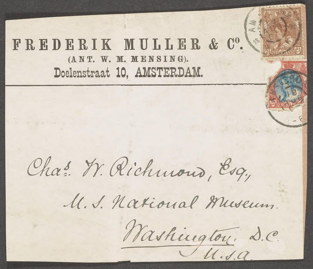 Book dealer's mailing label to Richmond from Frederik Muller & Co. of Amsterdam in the Smithsonian Libraries' copy of Vroeg's Catalogue.