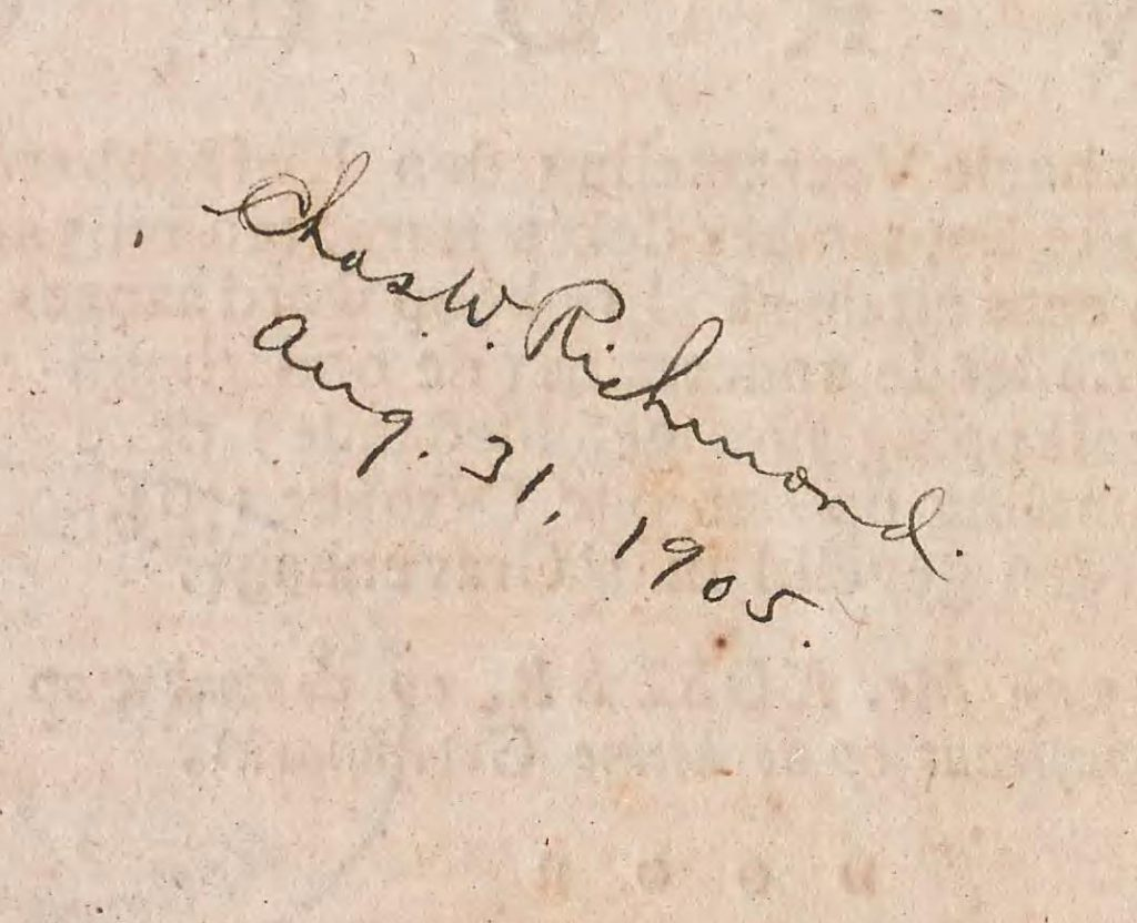 Richmond's signature on the verso of the title page of the Smithsonian Libraries' copy of Vroeg's Catalogue.