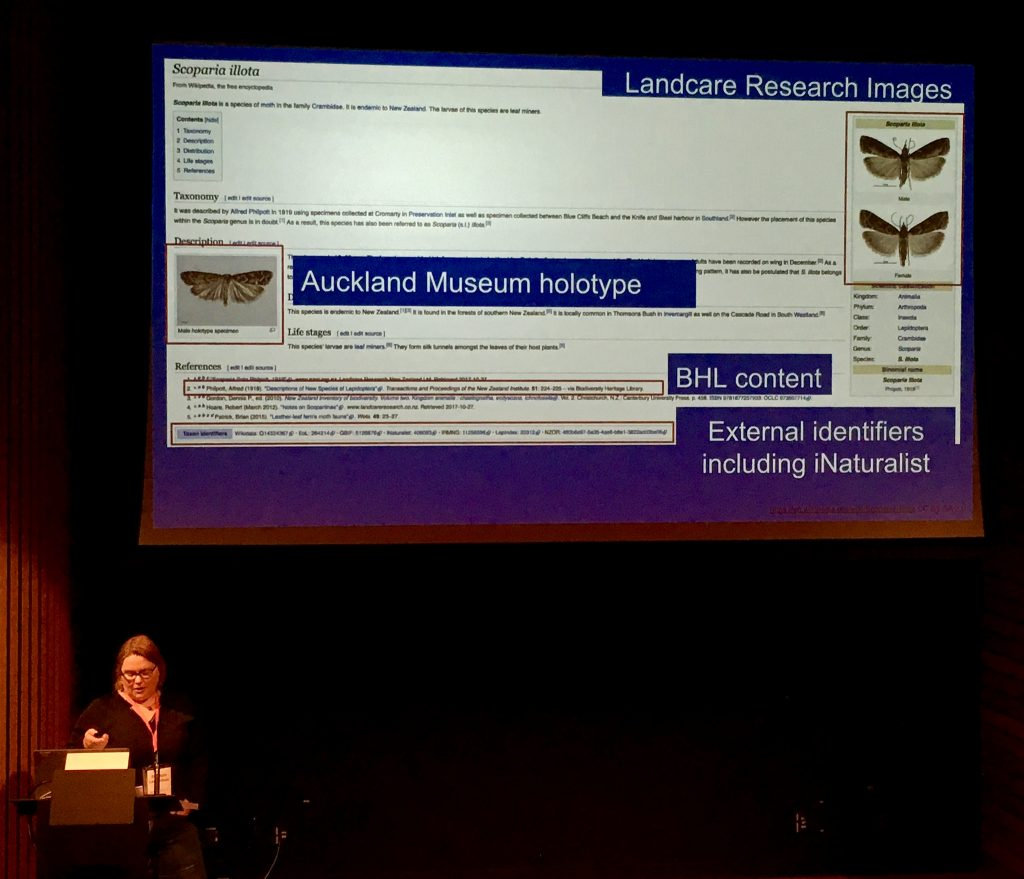 Siobhan Leachman presenting as part of WikiCite and the Biodiversity Heritage Library at WikiCite 2018.