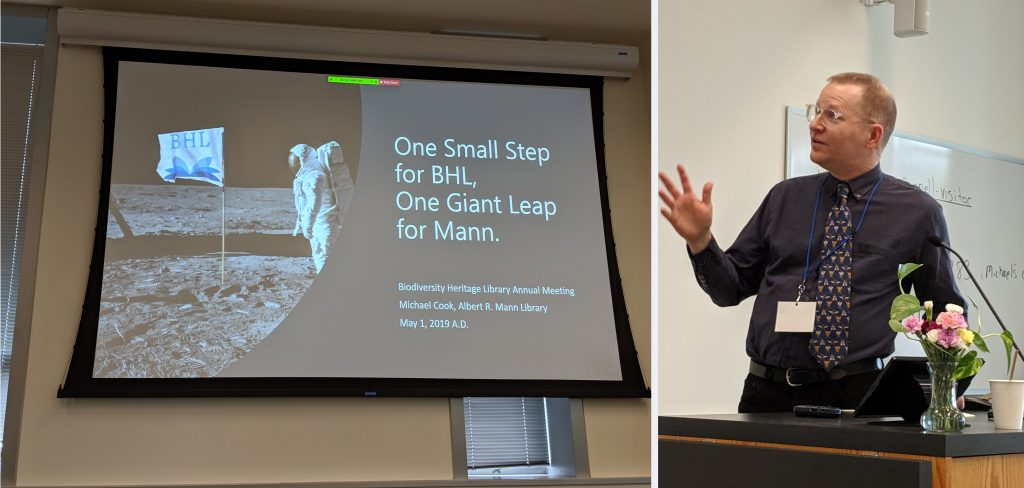 "Man standing by a slide that reads ""One small step for BHL, one giant leap for Mann"""