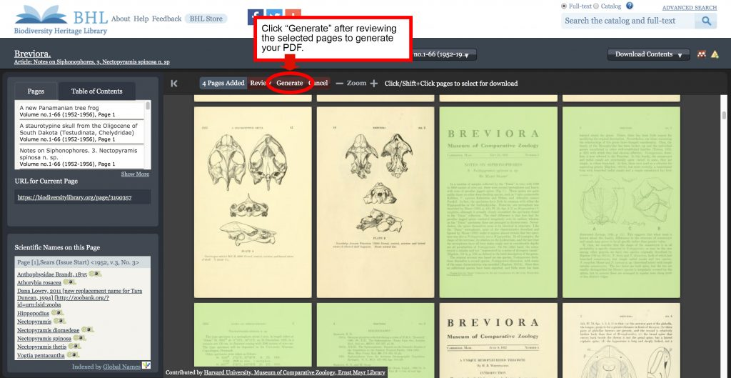 "Screenshot of the book viewer in the Biodiversity Heritage Library with the ""generate"" button in the PDF selection process highlighted."