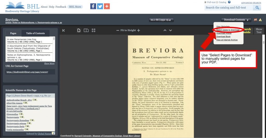 """Screenshot of the book viewer in the Biodiversity Heritage Library with the """"select pages to download"""" option highlighted in the """"download contents"""" menu."""