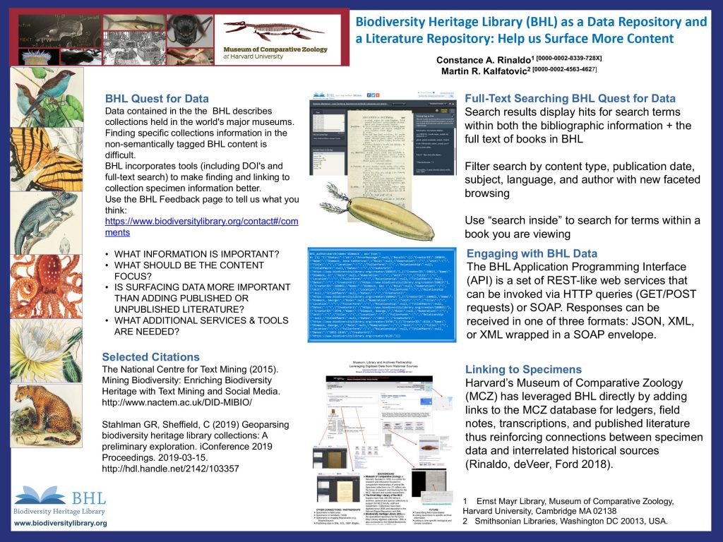 "Poster: ""Biodiversity Heritage Library (BHL) as a Data Repository and a Literature Repository: Help us Surface More Content"""