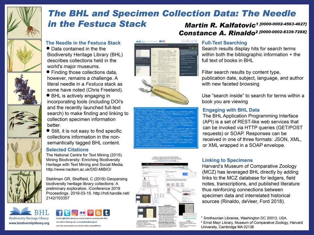 "Poster: ""BHL and Specimen Collection Data: The Needle in the Festuca Stack"""