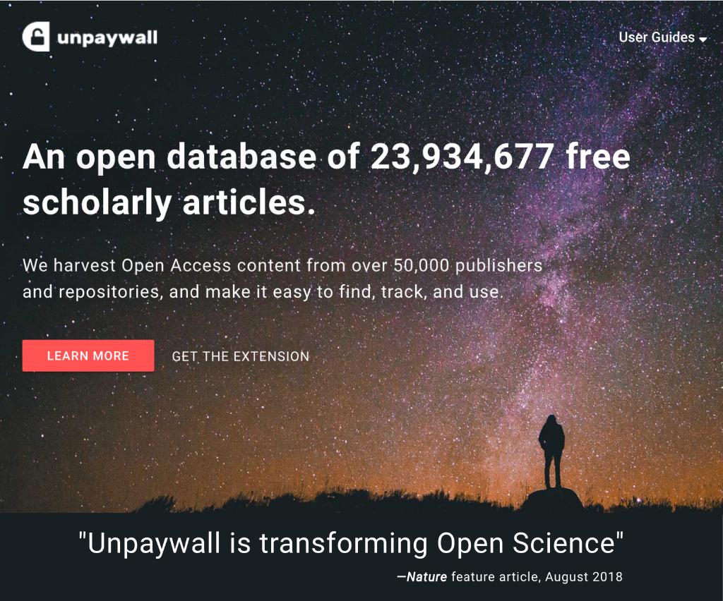Screenshot of Unpaywall homepage