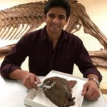 Man holding a fossil specimen