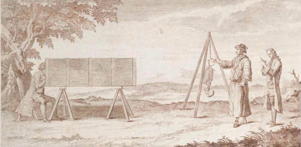 three humans using a camera obscura to illustrate a skeleton