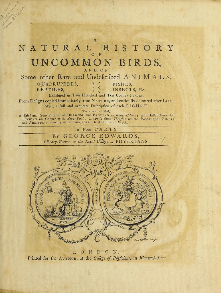 title page of natural history of birds