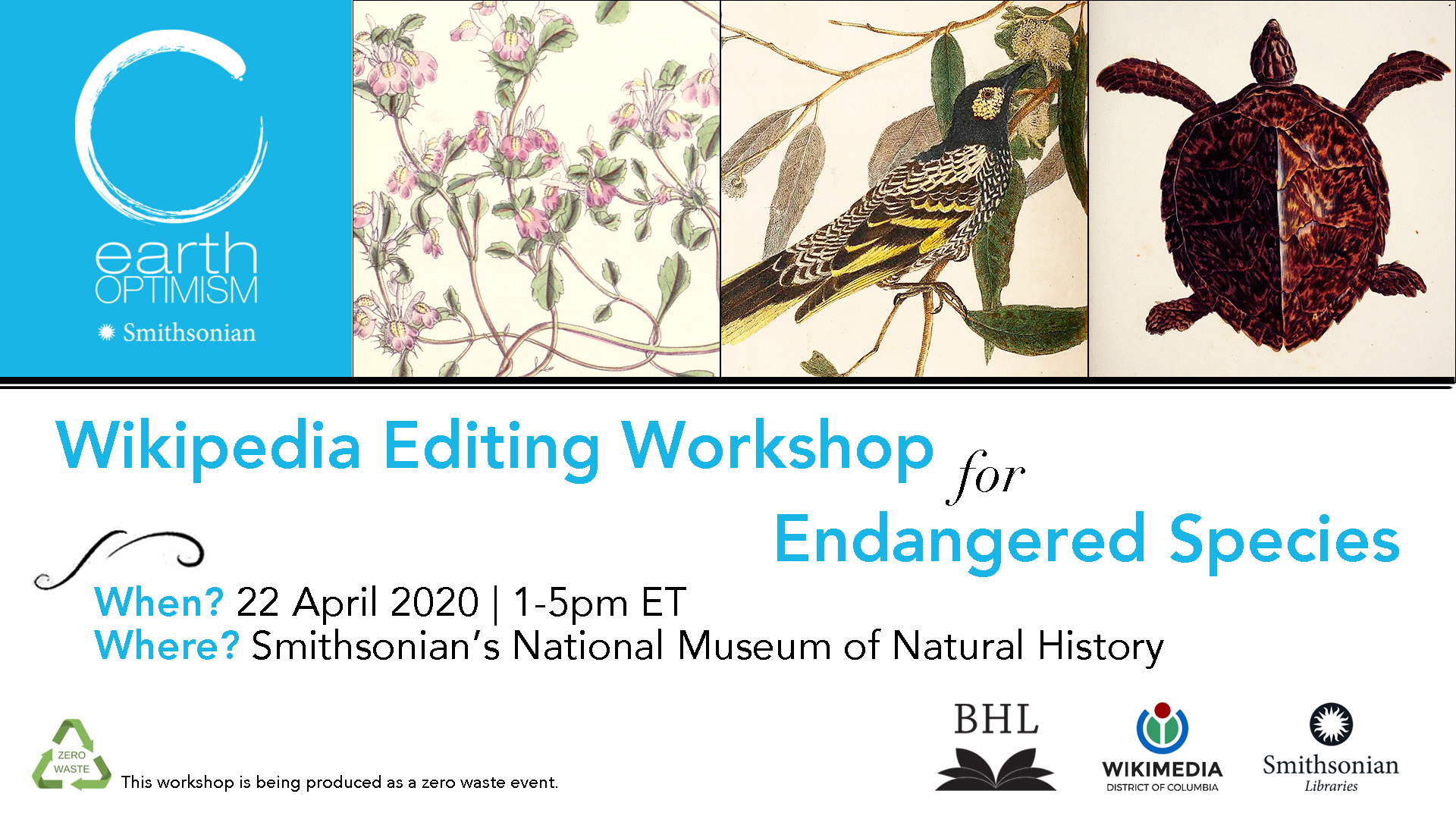 graphic for wikipedia workshop with illustrations of endangered species