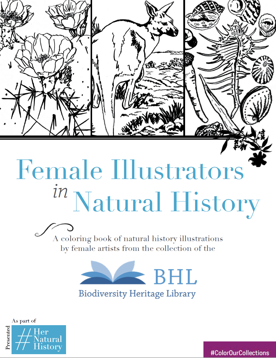 cover of the female illustrators in natural history coloring book