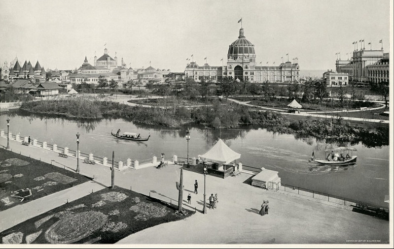black and white photo of a city park