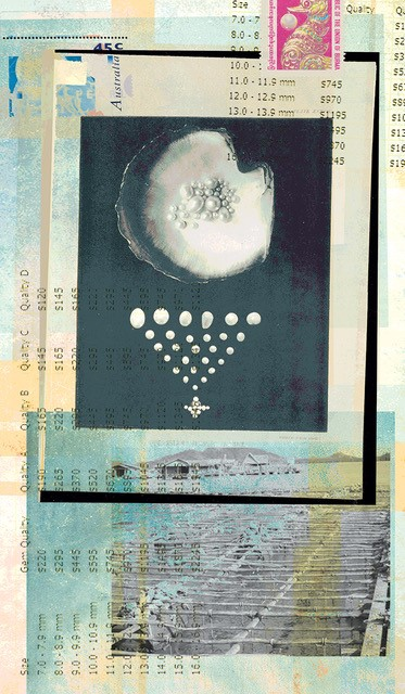 teal and cream artwork with shell and pearls in background