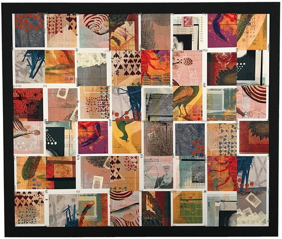 collage with mostly red and orange colors