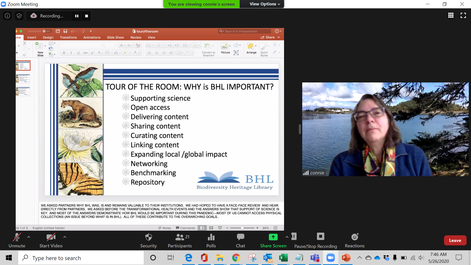 """Screenshot from a video conference call showing a slide with """"why BHL is important"""""""