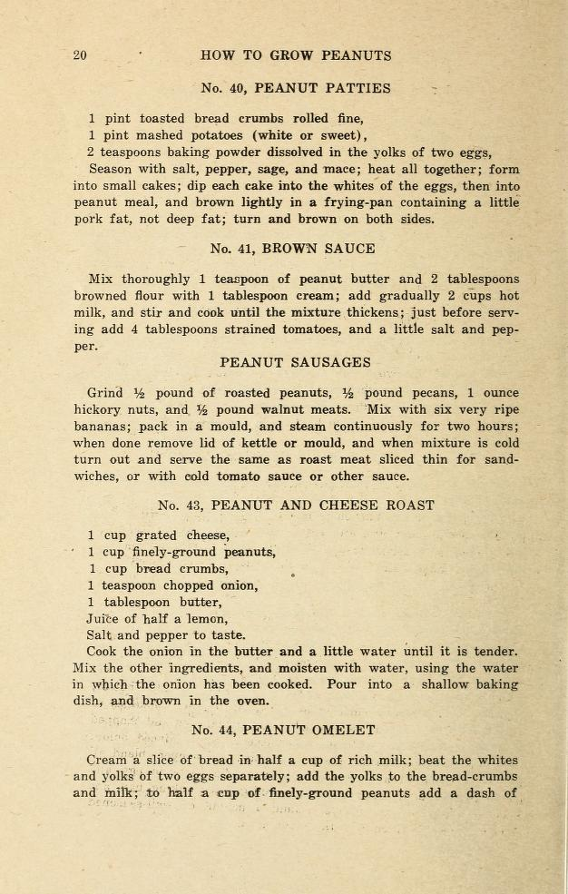 Recipes of meat alternatives using peanuts by George Washington Carver, Biodiversity Heritage Library, Public Domain.