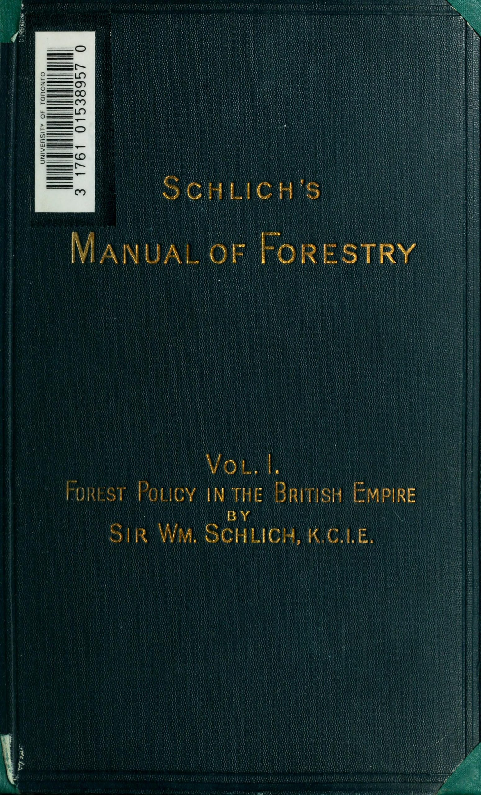 book cover in green with manual of forestry written on it