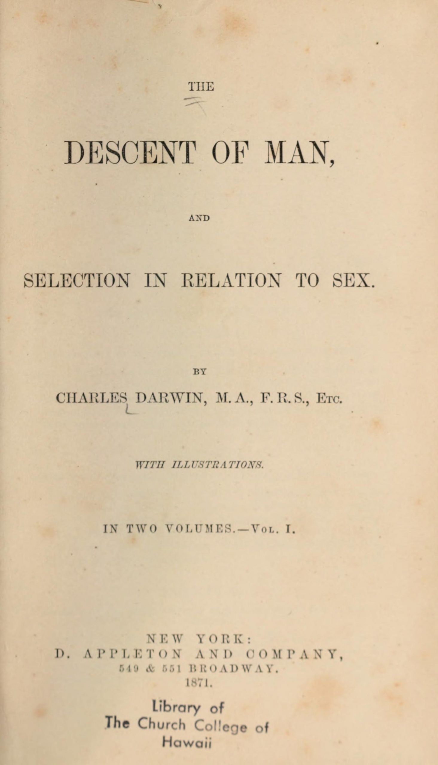 title page of the descent of man