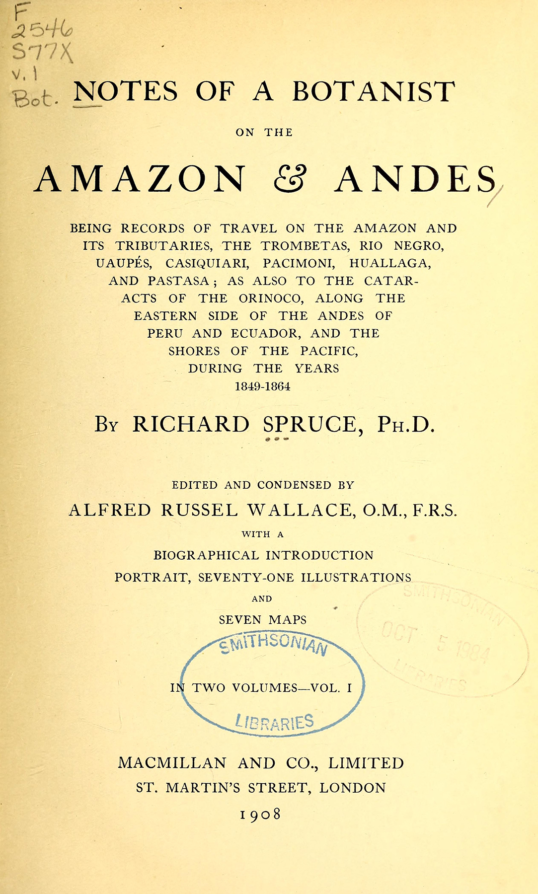 "title page of ""notes of a botanist on the amazon & andes"""