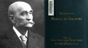black and white photo of a man in a suit and tie next to cover of a book that reads manual of forestry