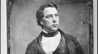 George Perkins Marsh, half-length portrait, head three-quarters to right, with spectacles