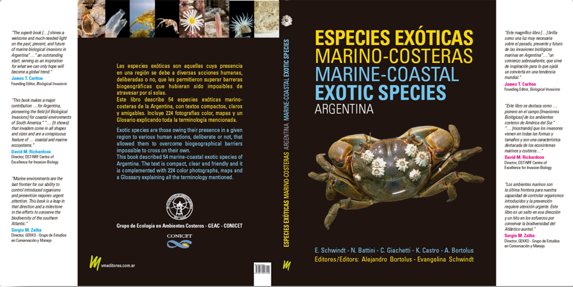 "Screenshot of a cover of a book with the title ""Especies Exóticas Marino-Costeras de Argentina"". The cover is black with yellow and blue letters and there is a crab on the cover."