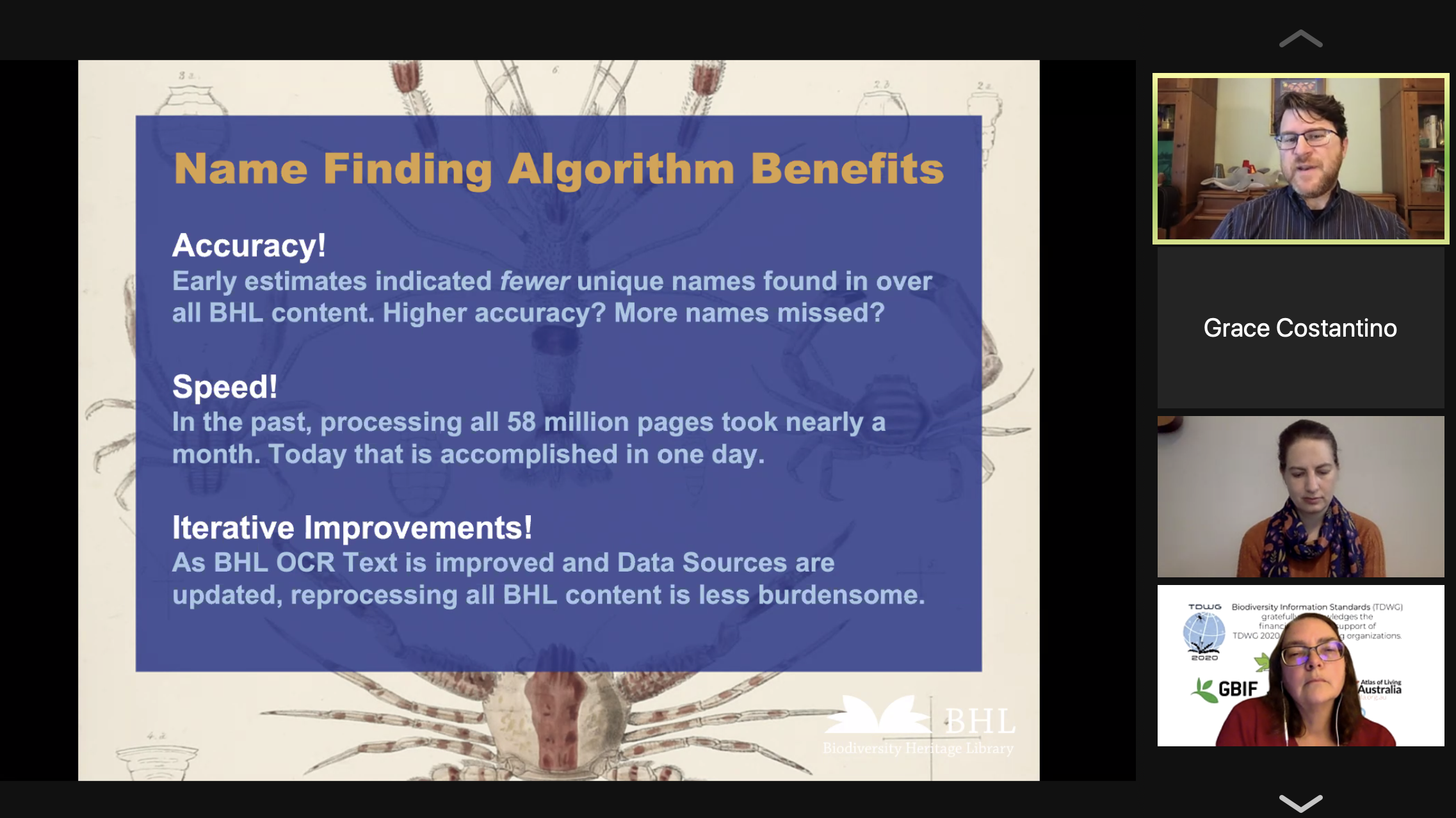 Screenshot of a Zoom call with a slide showing benefits of BHL's new name finding algorithm.
