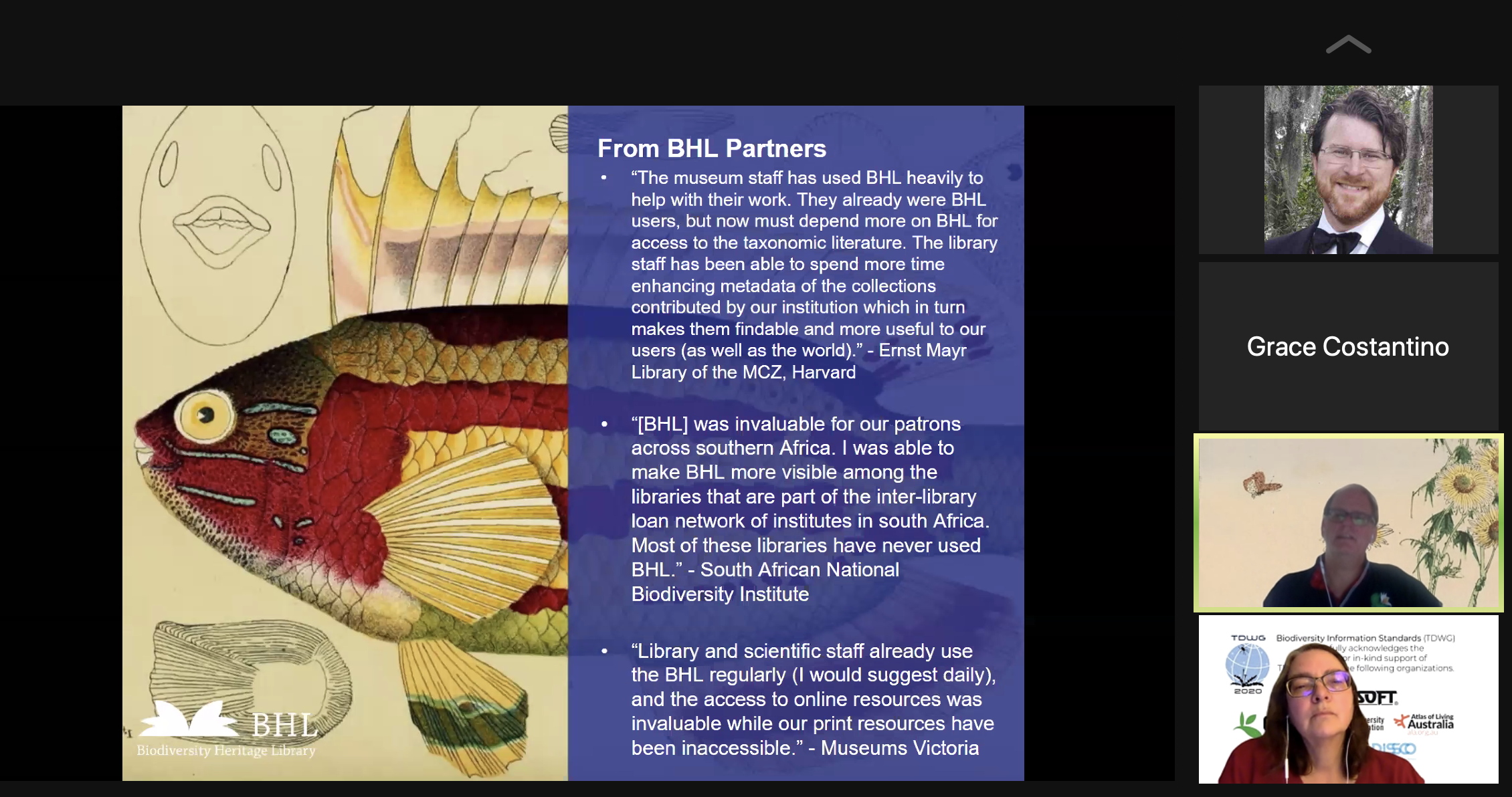 Screenshot of a Zoom call with a slide stating quotes from partners about BHL's impact during the COVID-19 pandemic.