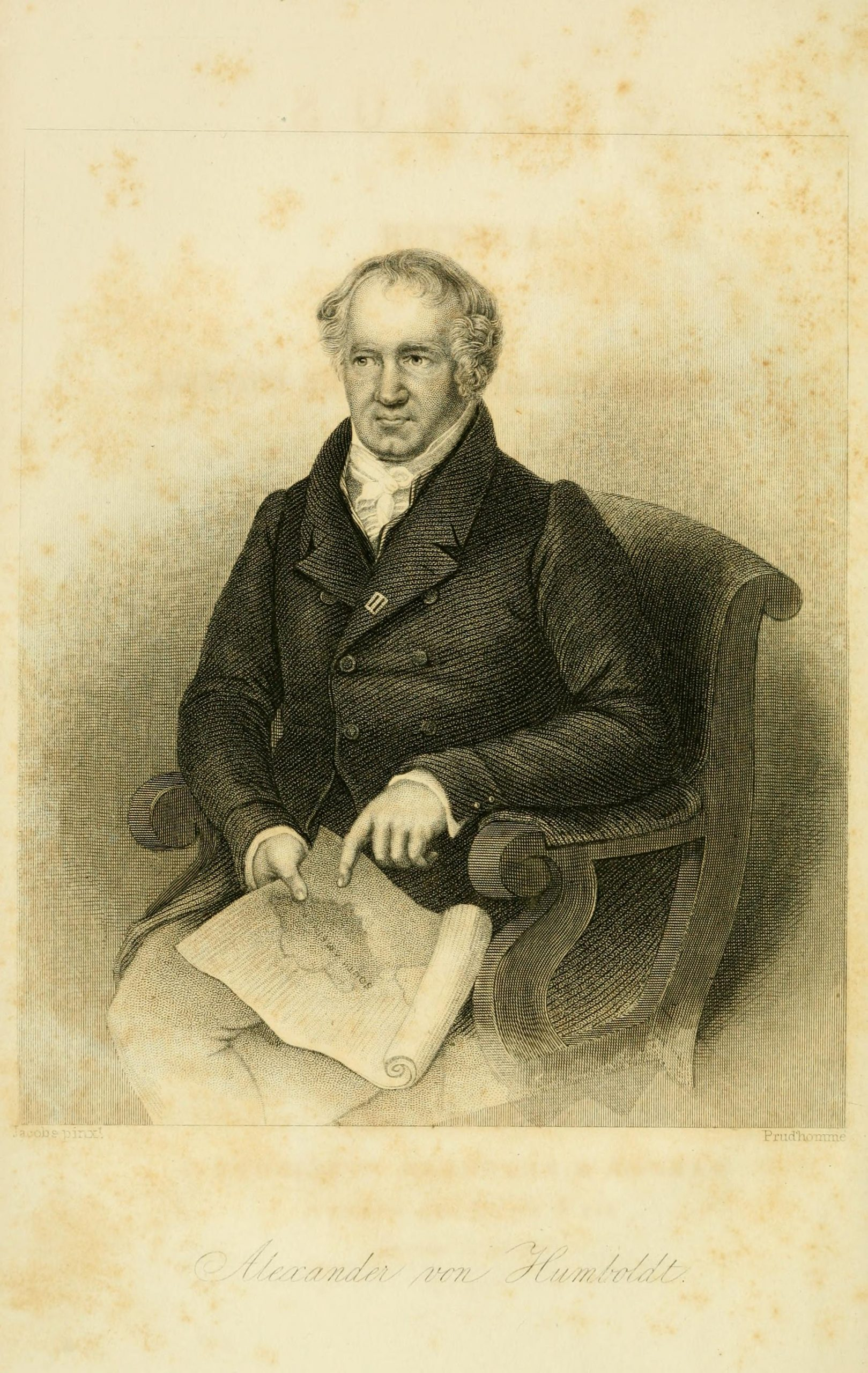 Black and white illustration of a man with receding hair dressed in 19th century clothing sitting in a chair, pointing to a map in his lap.
