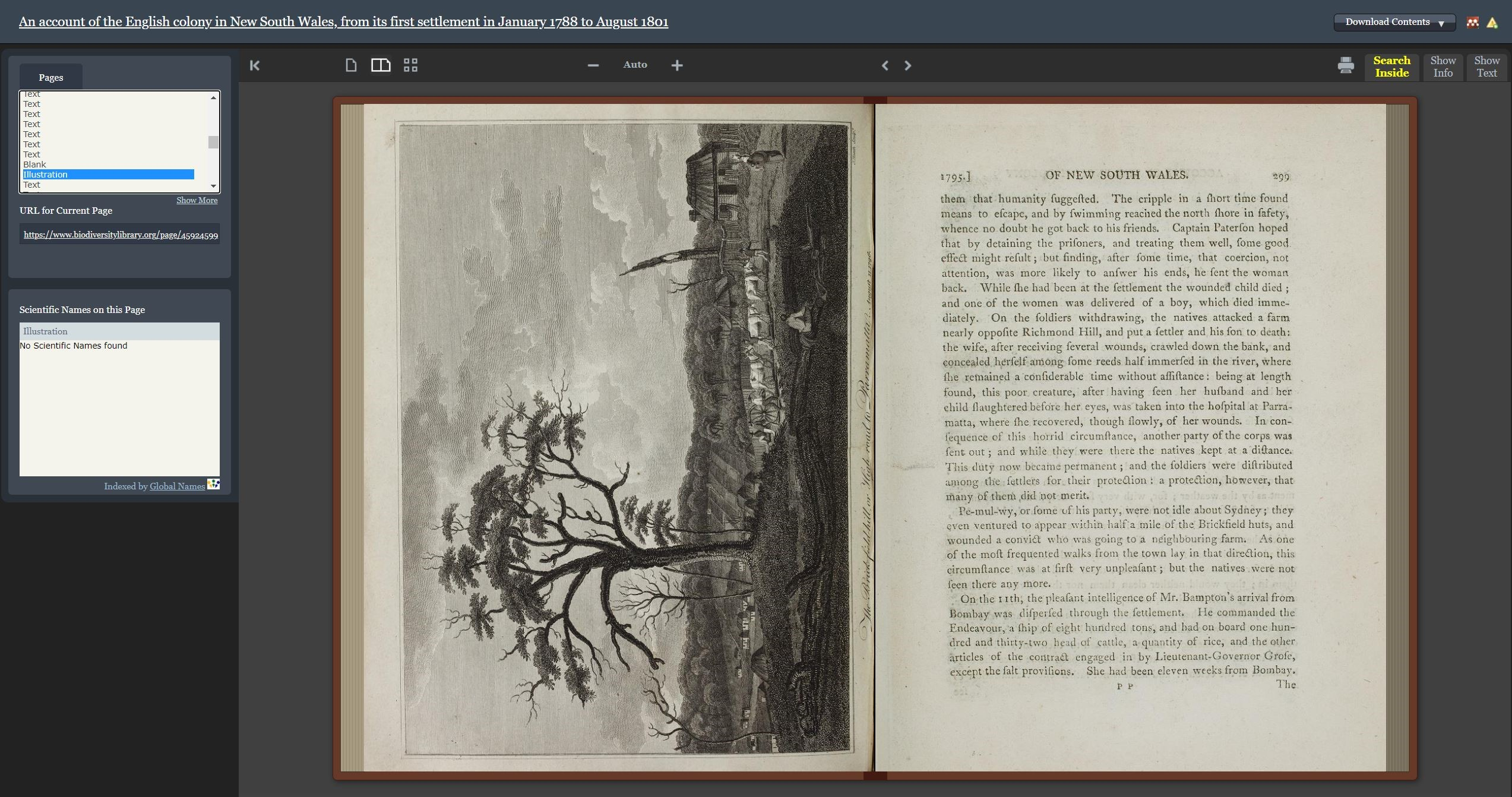 Screenshot of the book viewer in BHL with pages from An account of the English colony in New South Wales.