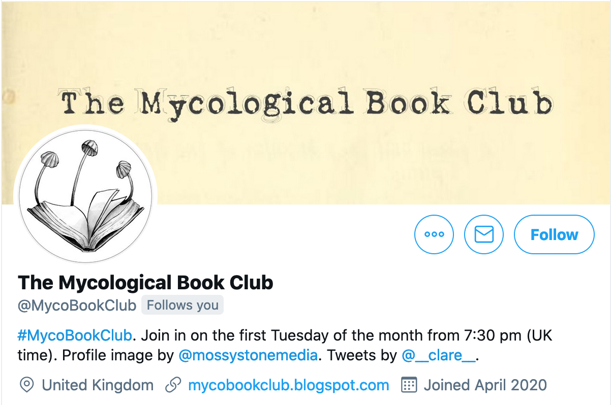 Screenshot of the Twitter profile of @MycoBookClub.
