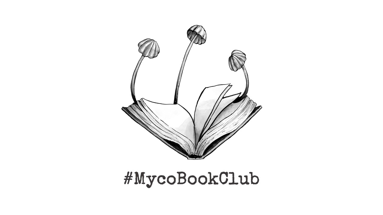 #MycoBookClub logo fungi growing out of a book