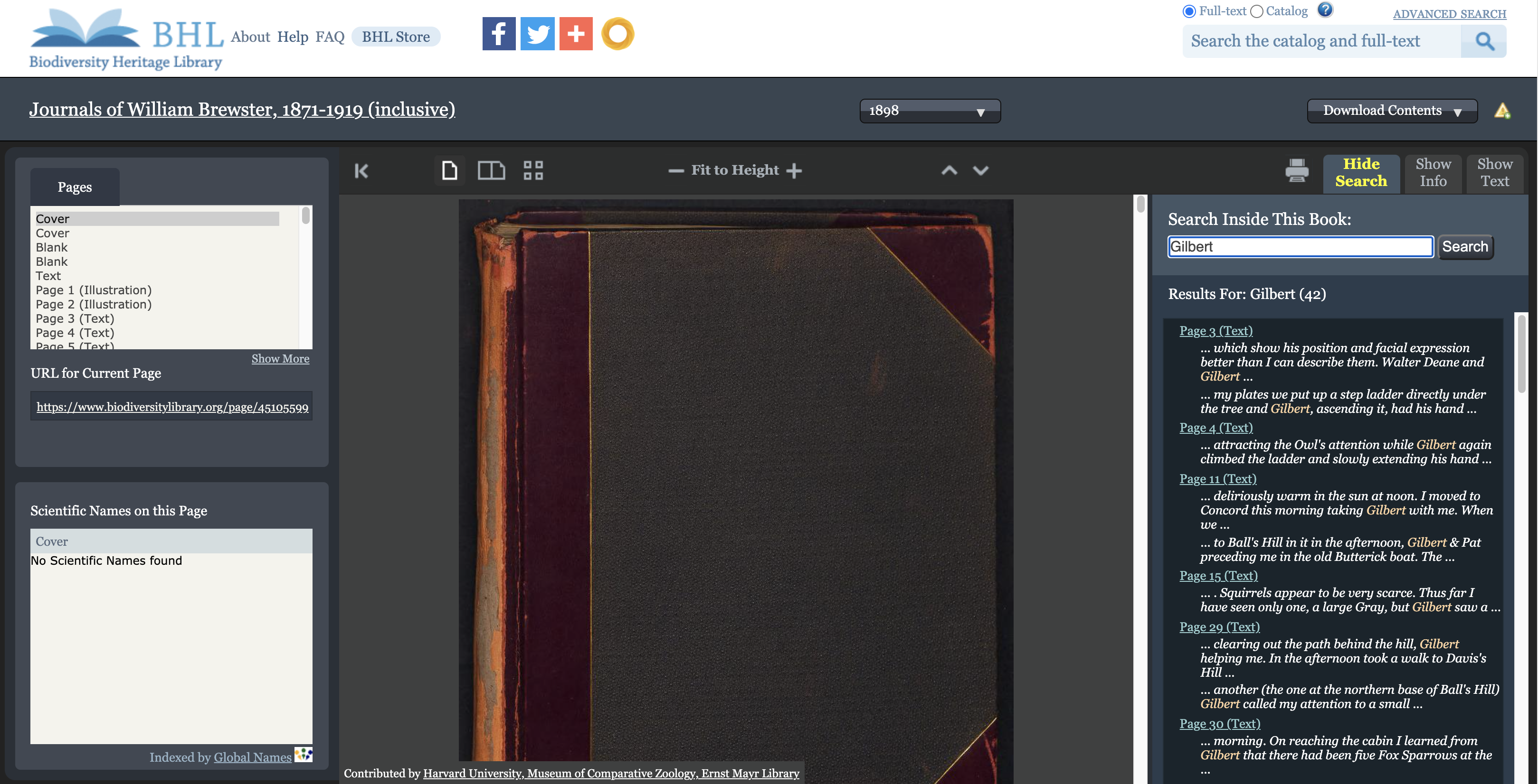 "Screenshot of the BHL book viewer with full text search results for ""Gilbert"" displayed."