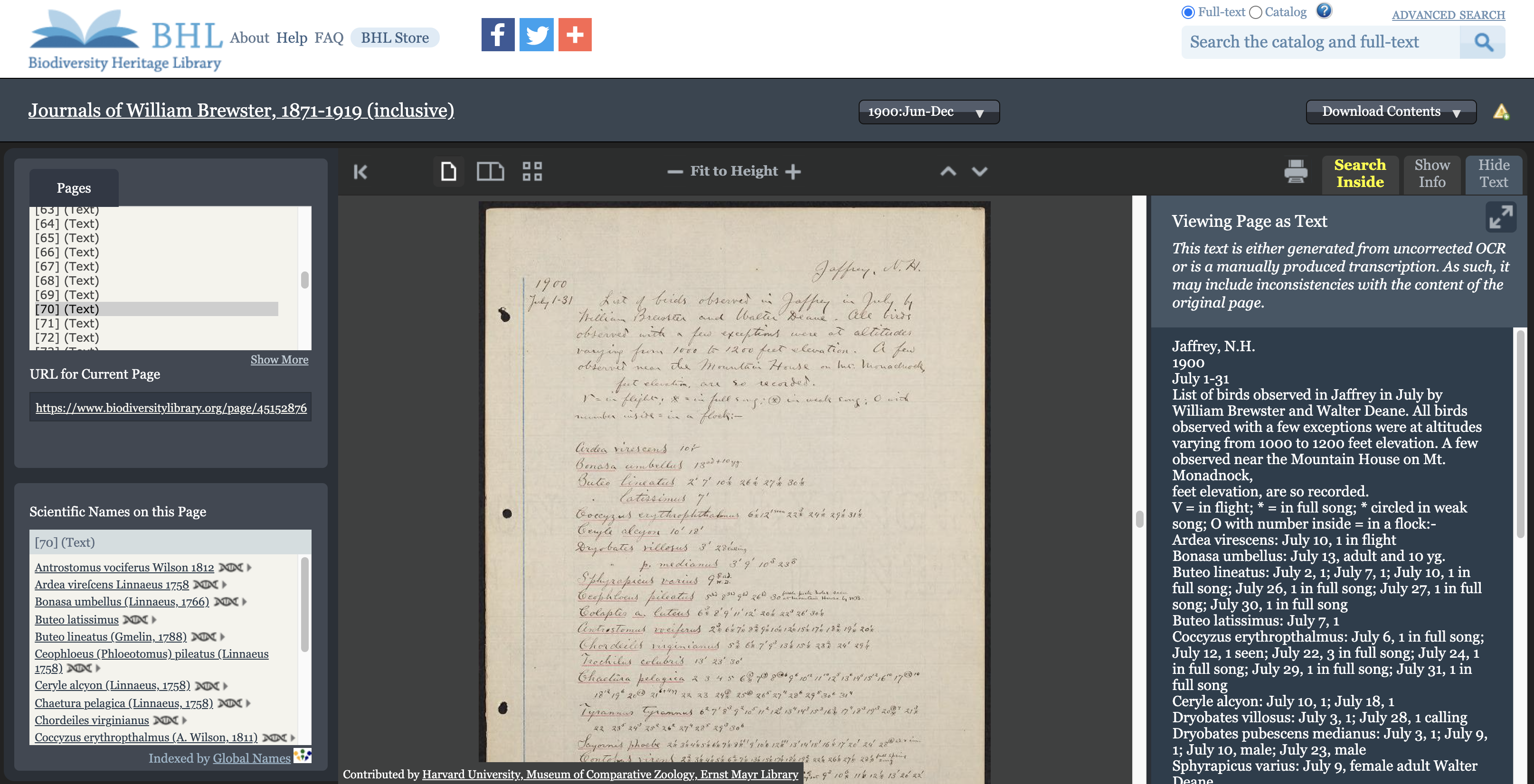 Screenshot of the BHL book viewer with scientific names found on the page.