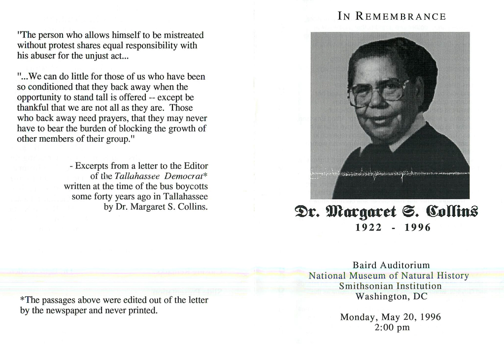 The first page of Margaret S. Collins' memorial service pamphlet.