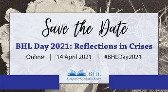 Save the Date graphic for BHL Day 2021: Reflections in Crises