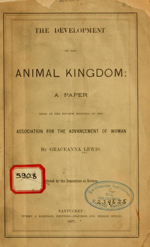 Cover, The Development of the Animal Kingdom (1877)