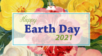 """background of yellow, white and red flowers with text """"Happy Earth Day 2021"""""""