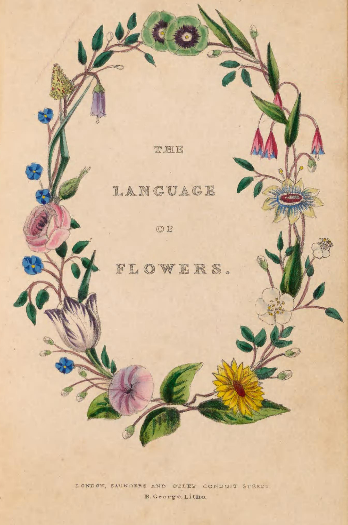 """Book title page with title"""" The Language of Flowers"""" encircled in a wreath of flowers."""