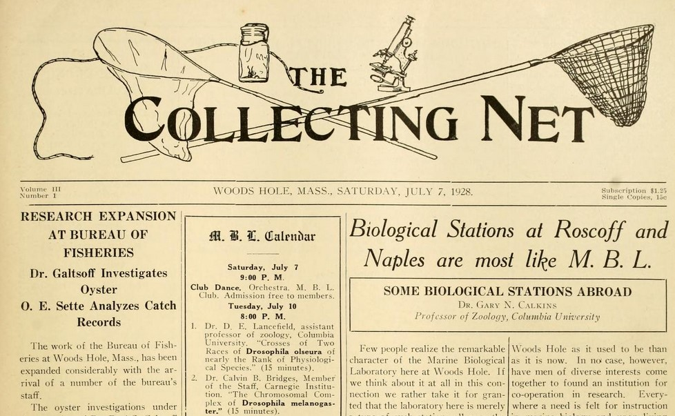 """Front page of """"The Collecting Net"""""""