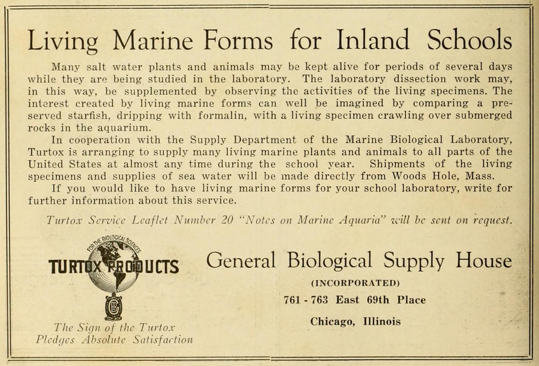 "Screenshot of text, ""Living Marine Forms"" advertisement"