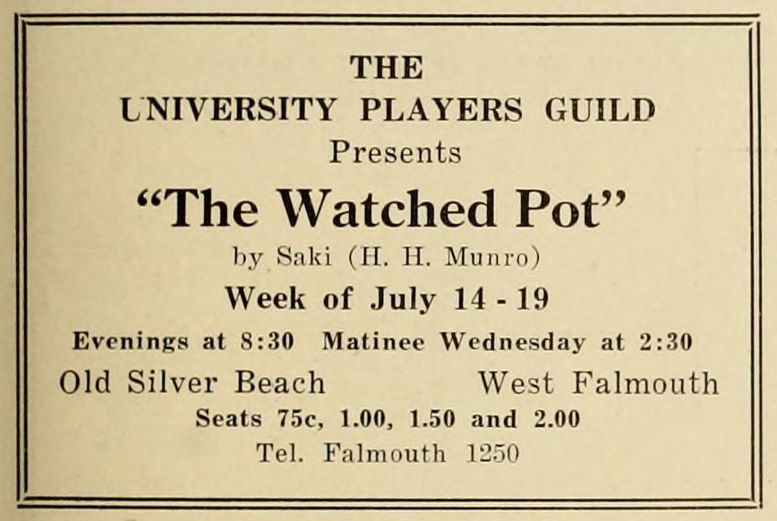 """Screenshot of text, advertisement for """"The University Players"""""""