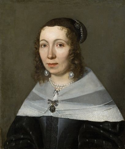 Portrait of a woman in 17th century clothes.