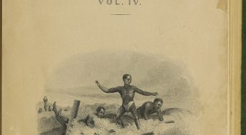 An engraving of ka poʻe kānaka heʻe nalu, indigenous Hawaiians surfing.